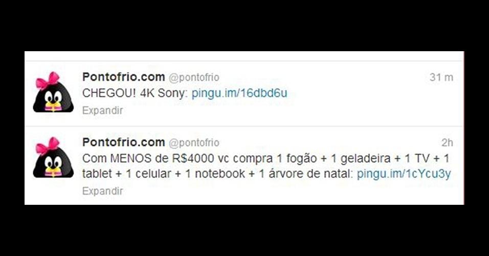 Twitter oficial da rede varejista Ponto Frio brincou com o anúncio do preço do PlayStation 4