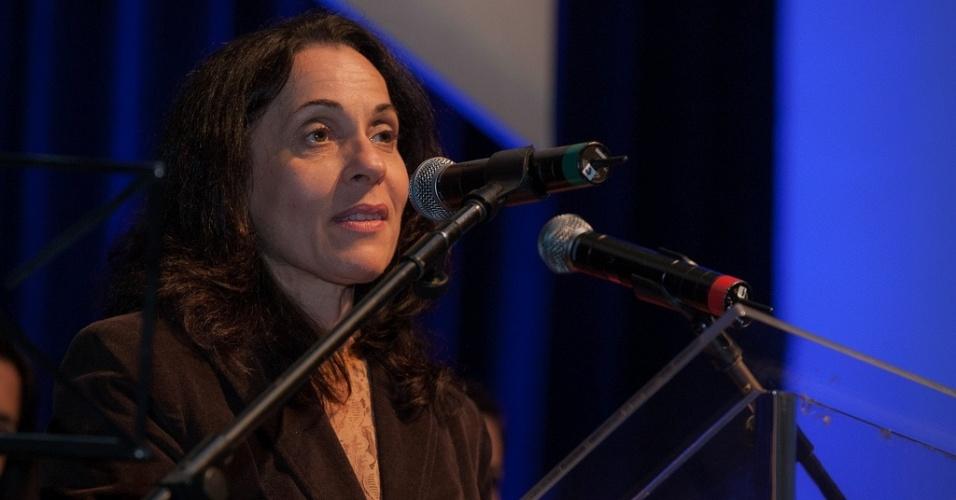 17.out.2013 - A vice-prefeita Nadia Campeão, discursa durante a abertura da 37ª Mostra Internacional de Cinema em São Paulo, no Auditório Ibirapuera