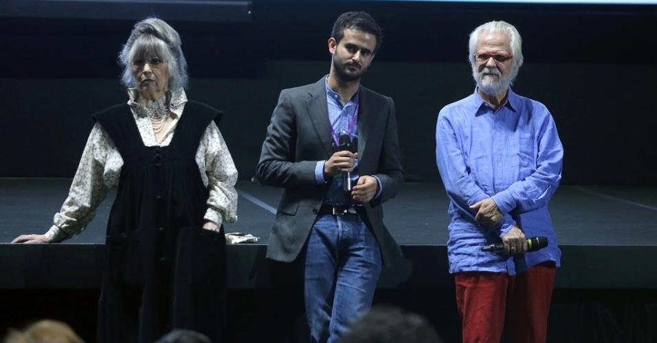 18.out.2013 - A viúva de Stanley Kubrick, Christiane, e Jan Harlan (dir.), produtor e cunhado do cineasta, apresentam a sessão de