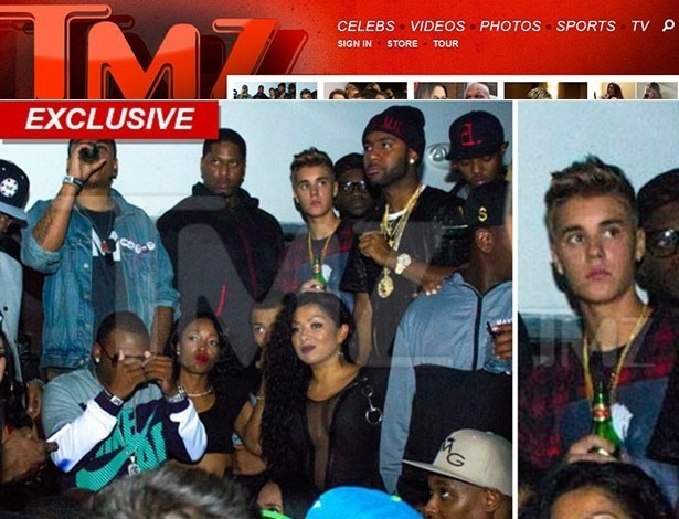 18.out.2013 - Justin Bieber é flagrado com garrafa de cerveja na mão em bar do Texas, onde ele ainda não pode beber legalmente