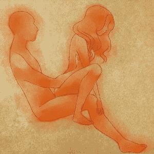 POSIÇÃO 2: o homem se senta no sofá e apoia os pés no chão. A mulher se senta sobre ele, de costas, mas com as pernas sobre o sofá, como se estivesse agachada. Apesar de não parecer muito confortável, a posição é extremamente prazerosa para a mulher porque o pênis, ao penetrá-la por trás, faz uma curva que atinge o ponto G, a área de maior excitação para grande parte das mulheres. O homem pode controlar o ritmo dos movimentos, para não cansar demais a mulher, e também estimular o clitóris dela - Leh Latte/UOL