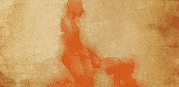 POSIÇÃO 5: a mulher se ajoelha e apoia as mãos e os antebraços na cama. O homem, também ajoelhado, mas com o corpo reto, encaixa as pernas nas laterais do corpo dela e realiza a penetração vaginal por trás. Para o homem, a penetração é profunda e totalmente controlada por ele, que pode ditar o ritmo que lhe dá mais prazer. A visão que tem da parceira também é extremamente excitante - Leh Latte/UOL - Leh Latte/UOL