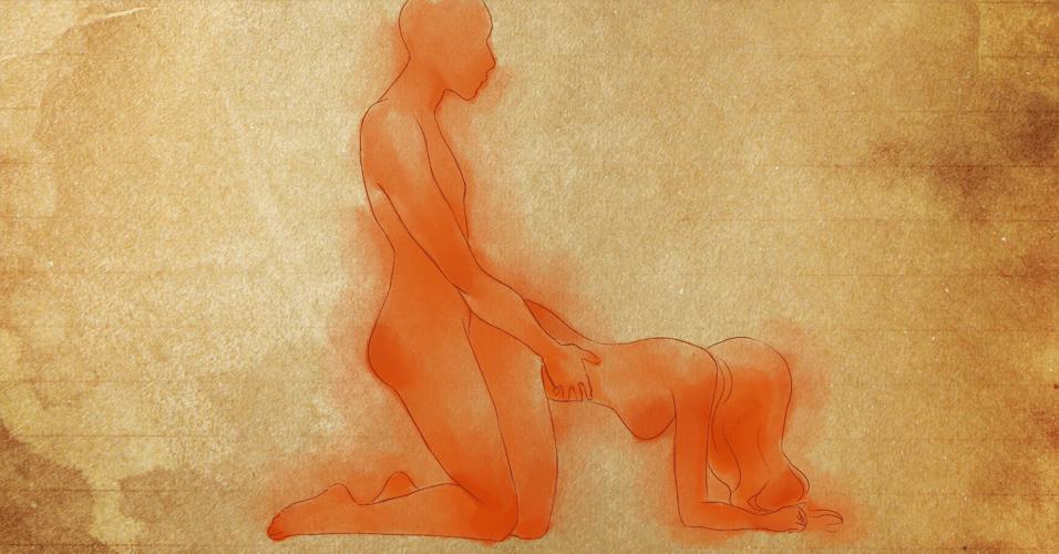 POSIÇÃO 5: a mulher se ajoelha e apoia as mãos e os antebraços na cama. O homem, também ajoelhado, mas com o corpo reto, encaixa as pernas nas laterais do corpo dela e realiza a penetração vaginal por trás. Para o homem, a penetração é profunda e totalmente controlada por ele, que pode ditar o ritmo que lhe dá mais prazer. A visão que tem da parceira também é extremamente excitante