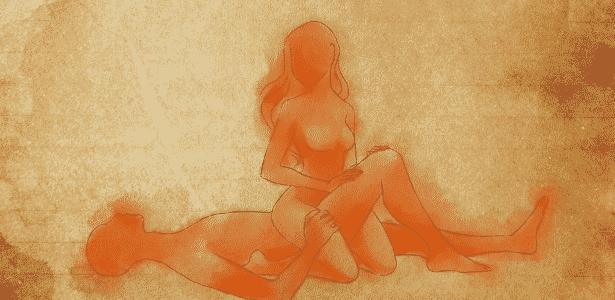 POSIÇÃO 5: o homem se deita de costas e mantém uma perna estendida e a outra flexionada. A mulher se ajoelha ligeiramente de costas para ele, de modo que as pernas dela se encaixem ao redor da perna dele (a que está flexionada). O movimento lento e constante ajuda a mulher a chegar ao orgasmo. Nessa posição, o pênis também consegue alcançar o ponto G feminino, localizado na parede anterior da vagina. - Leh Latte/UOL - Leh Latte/UOL