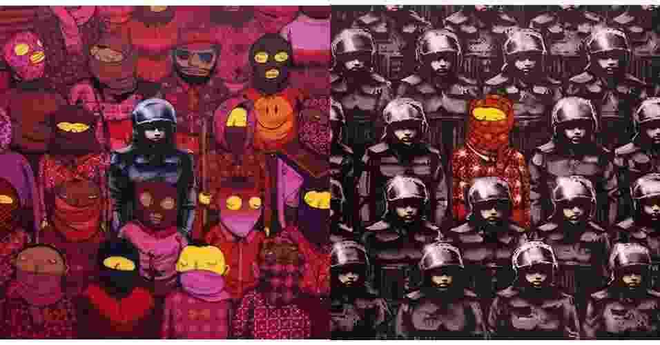 """18.out.2013 - Avesso a entrevistas, Banksy falou com a revista """"Village Voice"""" e contribuiu também com duas obras para a capa da publicação, realizadas em parceria com a dupla brasileira Os Gêmeos; os grafites que mesclam os trabalhos dos três artistas ficaram expostos de sexta a domingo (20) - Reprodução/Banksy.co.uk"""