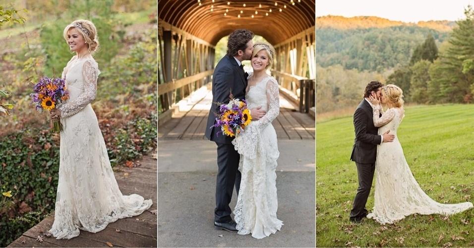 20.out.2013 - Casamento da cantora Kelly Clarkson, vencedora da primeira edição do reality show