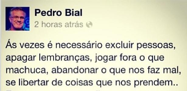 21.out.2013 - Na segunda, Giovanna Lancellotti postou uma mensagem enigmática assinada por Pedro Bial