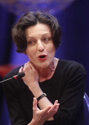 A escritora germano-romena Herta Müller, vencedora do Nobel de literatura em 2009, durante evento literário em Cartagena, na Colômbia, em janeiro de 2013 - AFP Photo/STR