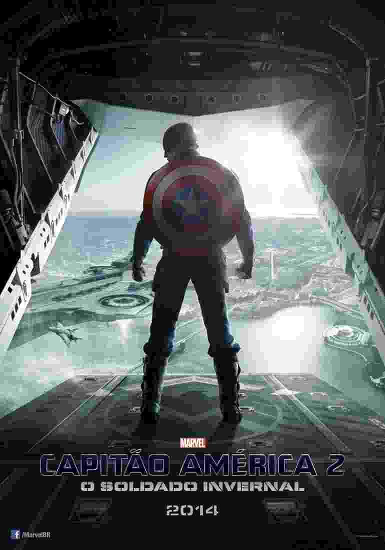 """No primeiro pôster nacional de """"Capitão América 2 - O Soldado Invernal"""", Steve Rogers (Chris Evans) aparece pronto para saltar de um avião em direção ao porta-aviões que serve como quartel general da S.H.I.E.L.D. - Marvel/Divulgação"""