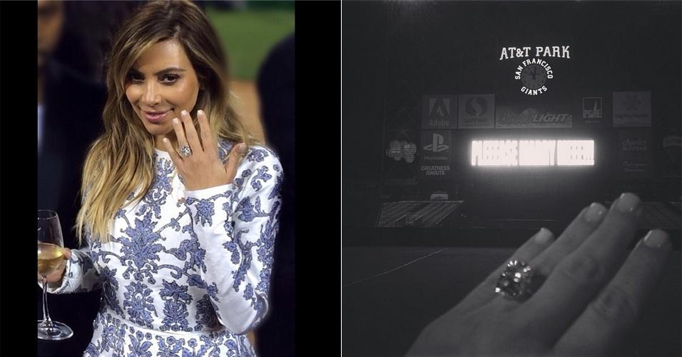 21.out.2013 - Kim Kardashian exibe o anel de noivado que ganhou do rapper Kanye West. O controverso rapper fechou o estádio AT&T Park, em San Francisco, EUA, para fazer o pedido e ainda contratou uma orquestra com 50 músicos. O anel de Kim, de ouro branco, leva uma enorme pedra retangular de diamante 15 quilates. A peça foi desenhada pela joalheira Lorraine Schwartz, designer nova-iorquina também responsável pelo anel de noivado de Beyoncé e Jay-Z