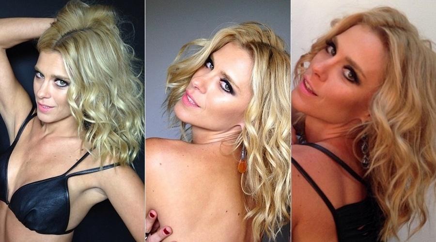 23.out.2013 - Carolina Dieckmann fez ensaio fotográfico nesta quarta em São Paulo. A atriz posou vestindo sutiã e fez caras e bocas