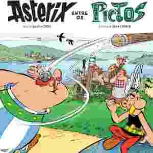 """Capa do livro """"Asterix Entre os Pictos"""" (2003), por Jean-Yves Ferri e Didier Conrad - Reprodução"""