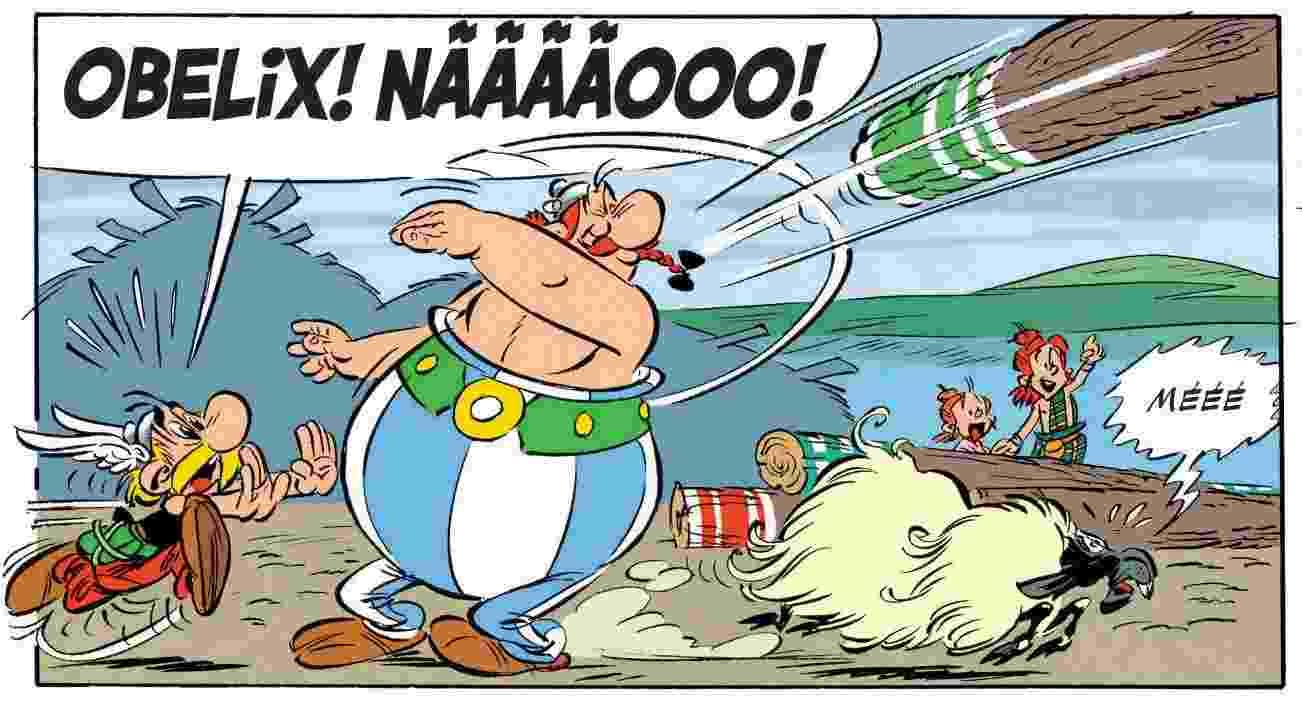 """Quadrinho do livro """"Asterix Entre os Pictos"""" (2013), por Jean-Yves Ferri e Didier Conrad - Reprodução"""