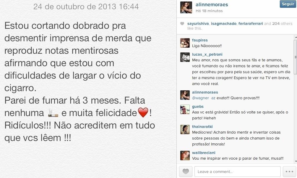 Alinne Moraes desabafa no Instagram