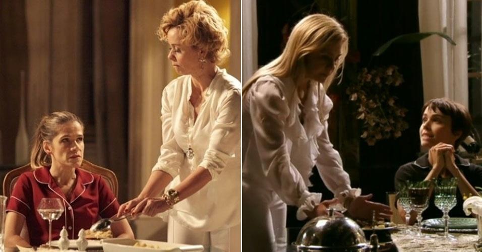 """AVENIDA BRASIL - Querendo se vingar de Bárbara Ellen (Giulia Gam) por ter sido abandonada no altar em seu casamento com Vitinho (Rodrigo Lopez), Tina (Ingrid Guimarães) se infiltrou na casa da diva como sua empregada, assim como Nina (Débora Falabella) fez com Carminha (Adriana Esteves) para vingar seu pai. Em um sonho, Tina se viu repetindo a famosa cena em que Nina manda a rival servi-la, com direito até a clássica frase """"me serve, vadia"""""""