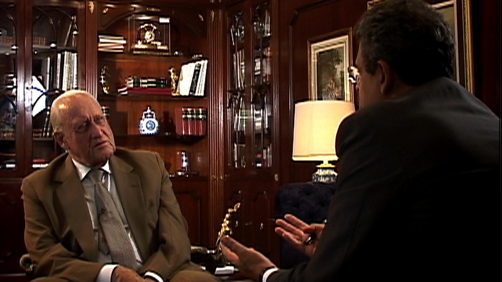 João Havelange é entrevistado por Ernesto Rodrigues durante a produção de sua biografia,