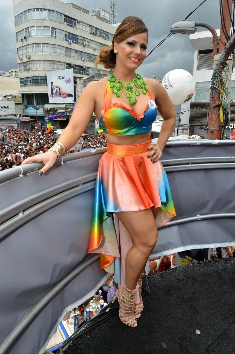 27.out.2013 - Viviane Araújo é  a madrinha da 13ª edição da Parada do orgulho LGBT de Madureira, neste domingo (27), no Rio. Com o tema