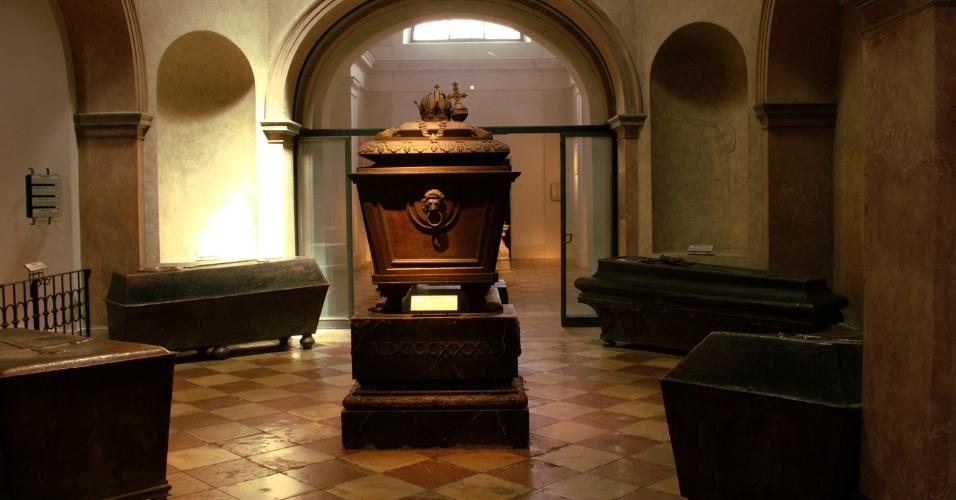 No centro da sala, este caixão guarda os restos mortais do Kaiser Franz II, imperador cujo caixão está exposto na Cripta Imperial de Viena