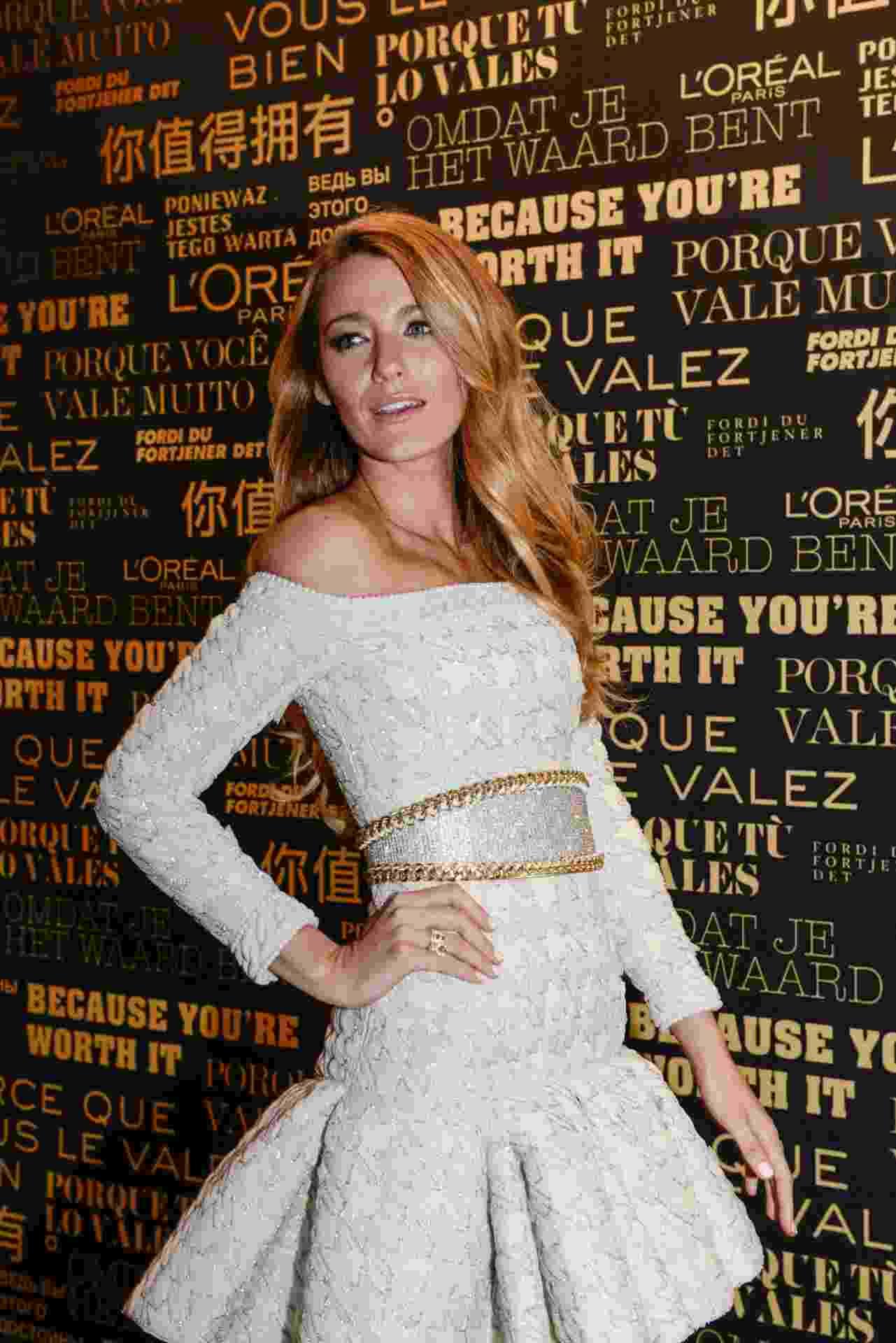29.out.2013 - A atriz Blake Lively durante evento em Paris em que foi anunciada como nova porta-voz da L'Oréal - J.L.Bulcão