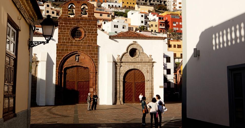 Fachadas da área portuária de San Sebastián, em La Gomera, nas Ilhas Canárias