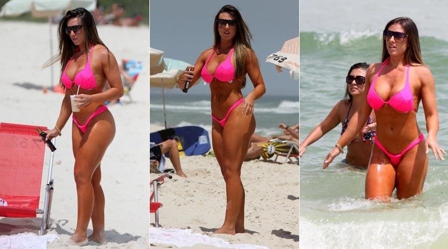 4.nov.2013 - Nicole Bahls curtiu praia no Rio nesta segunda. A repórter do