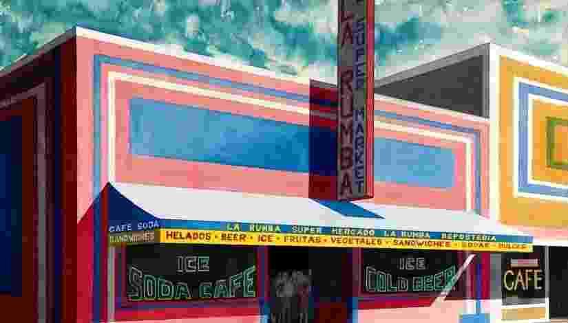 """Este trabalho do cubano Emilio Sanchez mostra a fachada do supermercado """"La Rumba"""". Sanchez estava interessado na paisagem urbana de Nova York e lugares que evocam o Caribe. A exposição 'Nuestra América' acontece em Washington até março de 2014, quando começará uma turnê por outras seis cidades norte-americanas - Emilio Sanchez Foundation"""