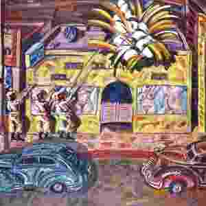 Nesta obra, o artista californiano Frank Romero presta homenagem à Ruben Salazar, considerado um dos principais cronistas do movimento chicano de direitos civis - 1986, Frank Romero