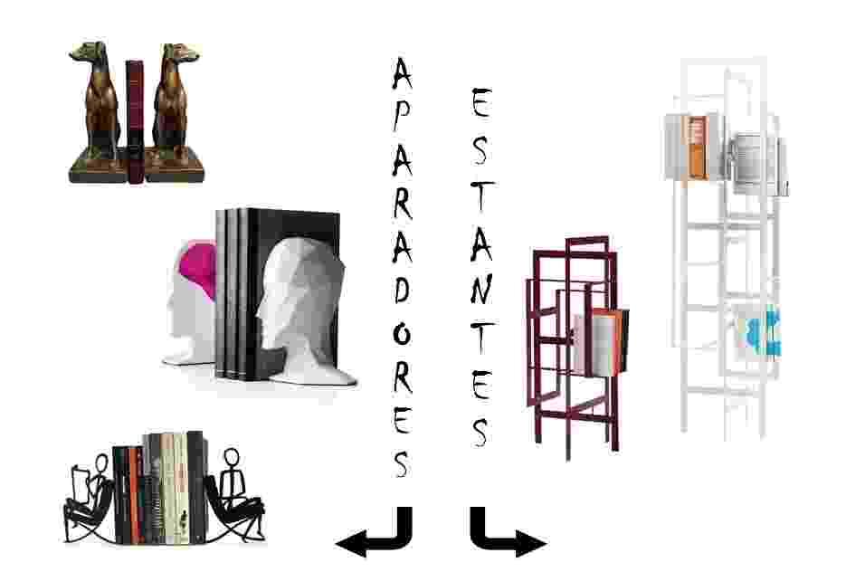 Em estantes modernas ou dispostos em aparadores charmosos, os livros ganham destaque na decoração da casa. Confira à esquerda, os aparadores criativos e divertidos, em formatos de animais, bicicletas e até havaianas; e à direita, os variados modelos de estantes de design pouco convencional - Divulgação/Montagem UOL