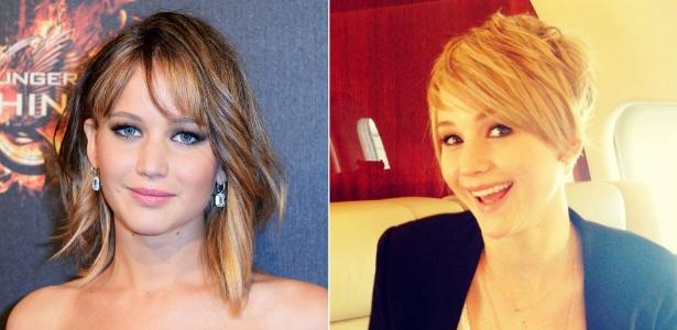 Jennifer Lawrence posta foto com novo corte de cabelo e gera suspeita sobre peruca - Getty Images/Reprodução Facebook