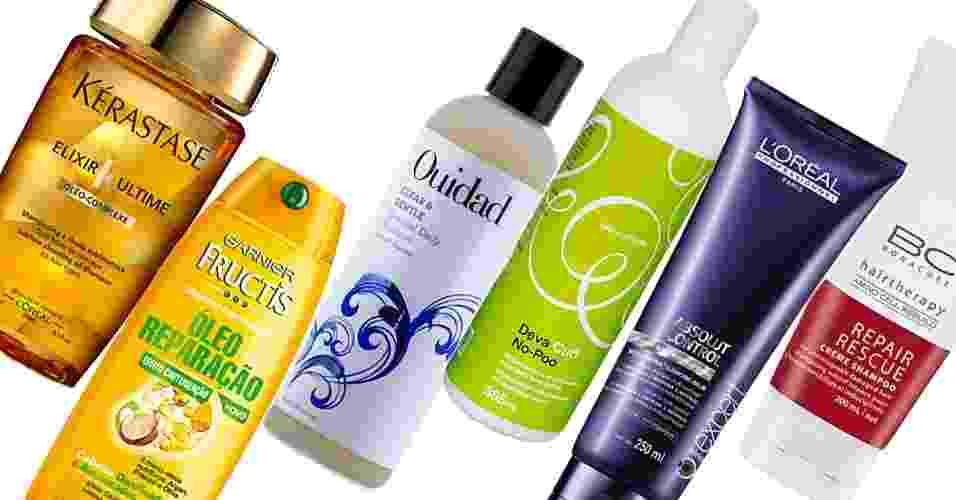 Xampus com óleo, sem espuma e em bálsamo - Divulgação/Arte UOL