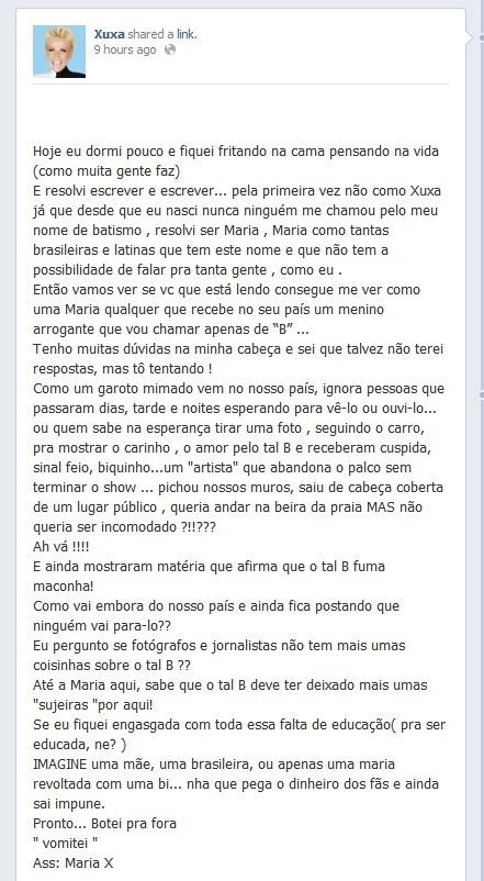 11.nov.2013 - Xuxa desabafa sobre Justin Bieber no Facebbok