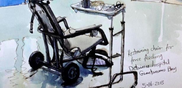 Imagem de Guantánamo desenhada pelo artista Steve Mumford - Steve Mumford/BBC