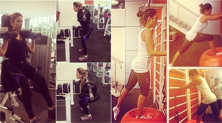 Patrícia Abravanel, filha de Silvio Santos, treina sob a supervisão de uma personal trainer