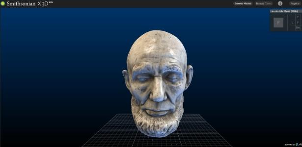 Rosto do ex-presidente Abraham Lincoln em 3D no acervo digital dos museus Smithsonian - Reprodução/3d.si.edu