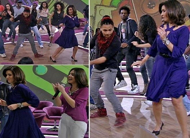 """No """"Encontro"""" do dia 19 de julho de 2012, os dançarinos da abertura da novela """"Avenida Brasil"""" fizeram um baile charme improvisado e a apresentadora arrasou no passinho. A mulher de William Bonner mostrou que tem gingado e acompanhou os passos dos bailarinos"""
