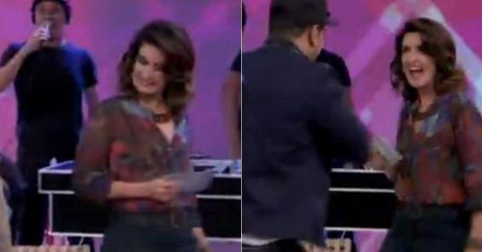 """No """"Encontro"""" do dia 24 de maio de 2013, Fátima Bernardes recebeu Naldo Benny e mostrou rebolado ao dançar ao lado do funkeiro a música """"Se Joga"""""""