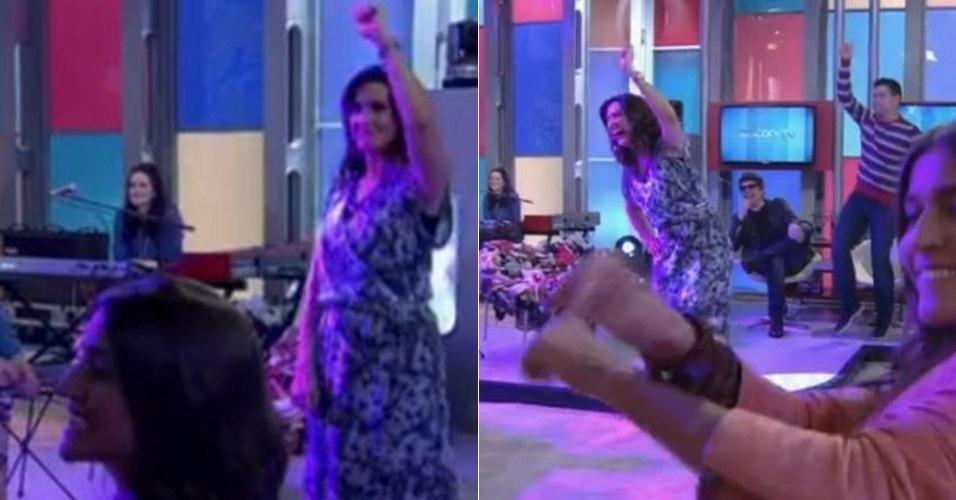 """No """"Encontro"""" do dia 6 de setembro de 2013, Fátima Bernardes entrou na brincadeira e dançou o hit """"Gangnam Style"""". O programa abordou o tema música e contou com a apresentação de uma marionete do rapper sul-coreano Psy. Animados, os convidados da atração se levantaram e começaram a dançar. A apresentadora não fugiu do clima e também imitou a coreografia do hit"""