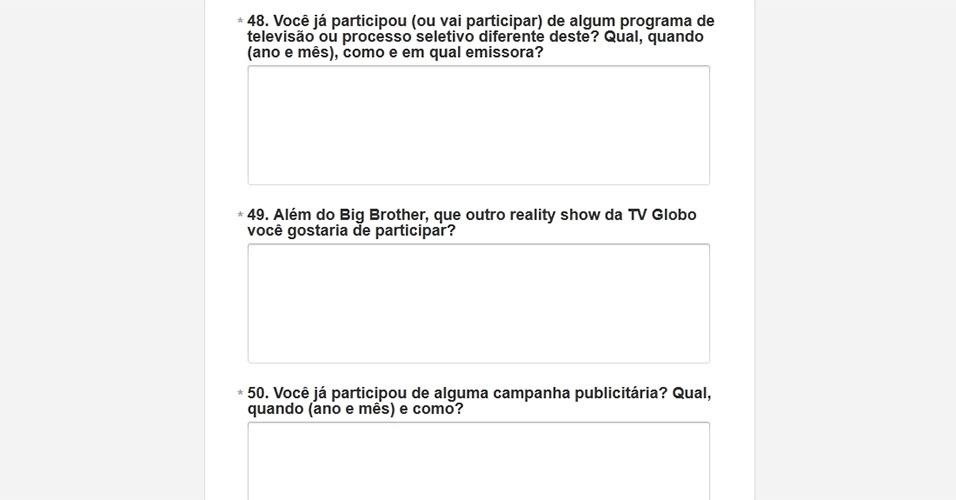 """Outra pergunta é: """"Além do Big Brother, que outro reality show da TV Globo você gostaria de participar?"""""""