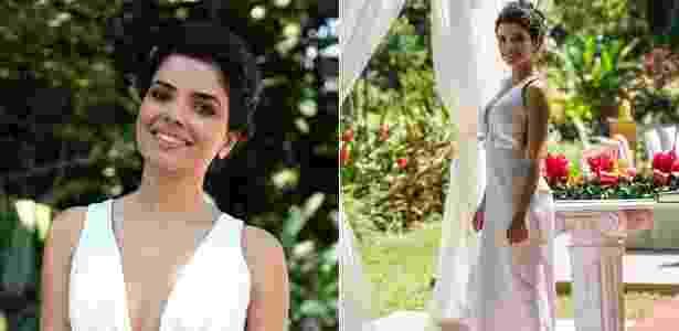Vilã Aline, vivida por Vanessa Giácomo, em cena de seu casamento com César (Antônio Fagundes) - Reprodução/Site Amor à Vida/Estevam Avellar/TV Globo