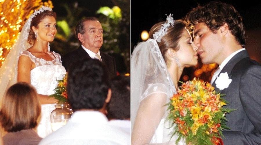 """Em """"Páginas da Vida"""", da Globo, Thelminha (Grazi Massafera) e Jorge (Thiago Lacerda) casam-se após ela ter sido obrigada a se casar com Dorival (André Frateschi). A noiva é levada até o altar por seu pai, Zé Ribeiro (Umberto Magnani)"""