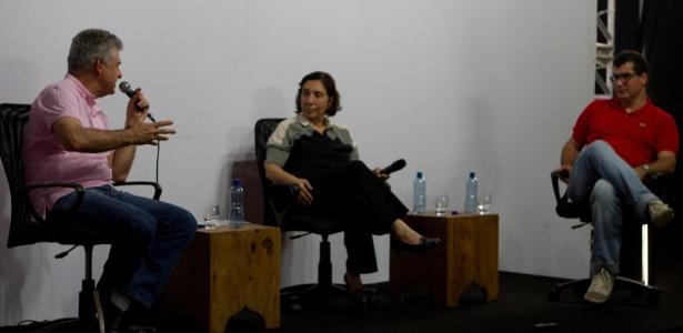 Humberto Werneck, Regina Zappa e Lucas Figueiredo durante debate no Festival Internacional de Biografias, em Fortaleza - Guilherme Silva/Divulgação