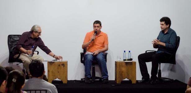 João Máximo e Paulo César de Araújo durante Festival Internacional de Biografias, em Fortaleza (CE) - Guilherme Silva/Divulgação