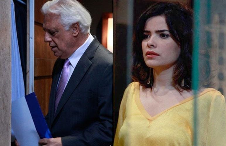 17.nov.2013: Aline fica sem a fortuna de César ao vê-lo trancar a procuração no cofre