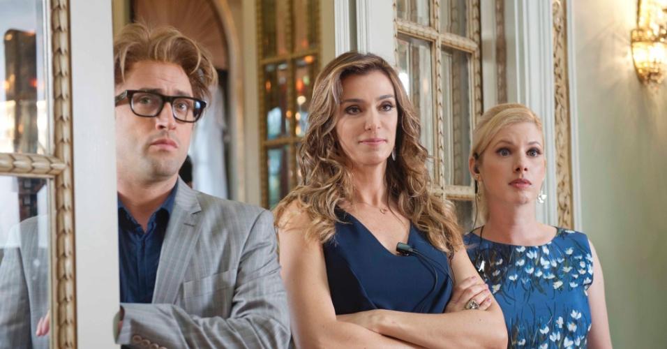Paulo Gustavo, Mônica Martelli e Daniele Valente nas filmagens de
