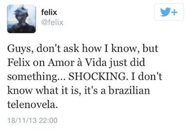 Um internauta estrangeiro com o nome  @felix começou a receber mensagens de alguns desavisados e foi tentar entender o que estava acontecendo?
