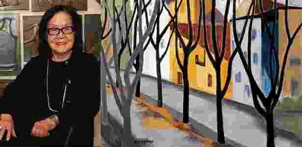 A artista plástica Tomie Ohtake e óleo sobre tela sem título (1953) - Zanone Fraissat/Folhapress