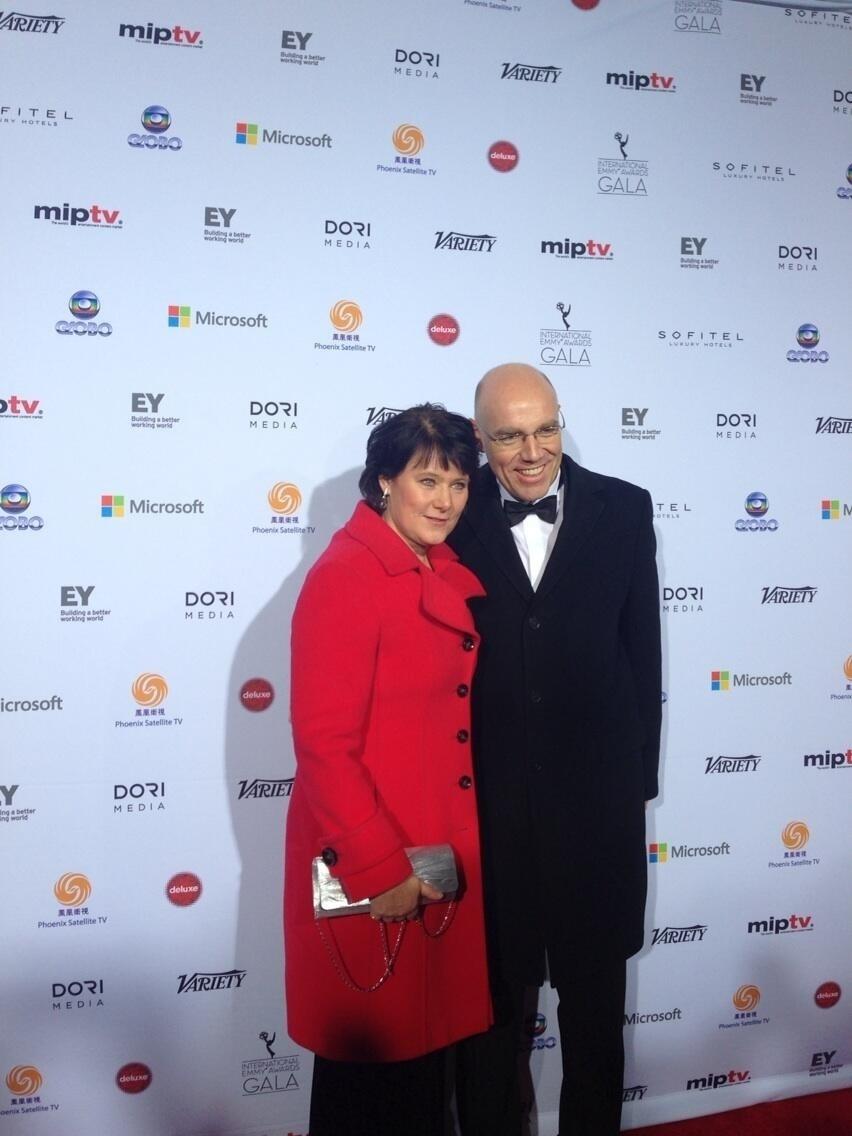 25.nov.2013 - Anke Schäferkordt prestigiou a 41ª edição do Emmy Internacional que acontece em Nova York