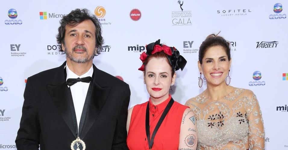 25.nov.2013 - José Alvarenga, Fernanda Young e Helena Fernandes na 41ª edição do Emmy Internacional que acontece em Nova York