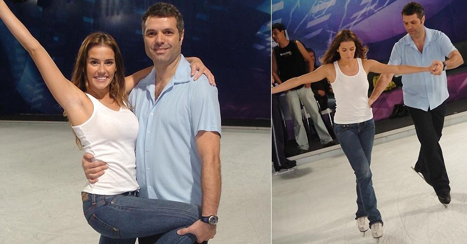 """Deborah Secco participa do quadro """"Dança no Gelo"""" do programa """"Domingão do Faustão"""". Durante a competição ela fratura duas costelas, mas mesmo assim fica em terceiro lugar"""