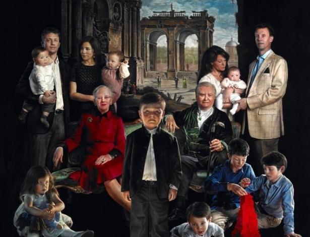 Retrato oficial da família real dinamarquesa pintado por Thomas Kluge - Reprodução/Museu Amaliemborg